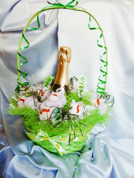 Шампанское в корзине своими руками